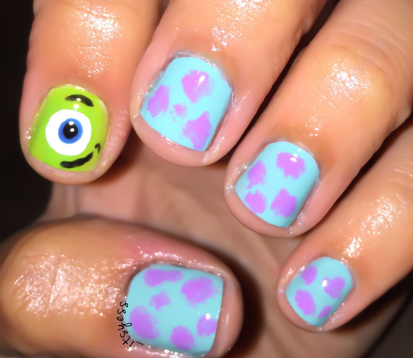 Monsters Inc Nails Mike Wazowski & Sully | Nails by Yess | Pinterest