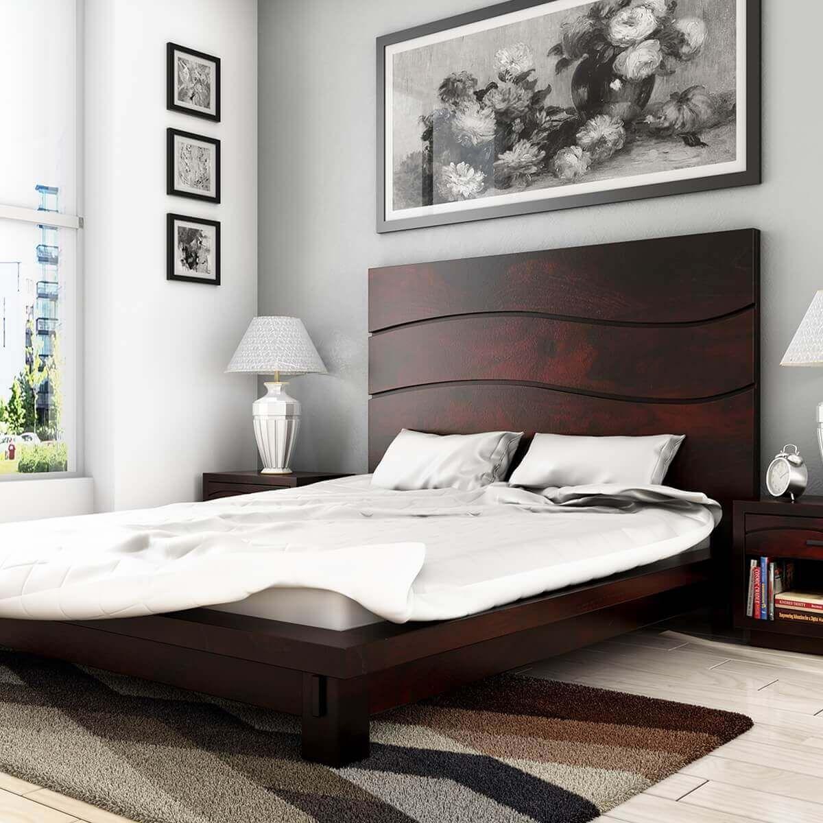 Santa Barbara Solid Wood High Headboard Platform Bed in 2021   Simple bed designs, Bedroom bed ...