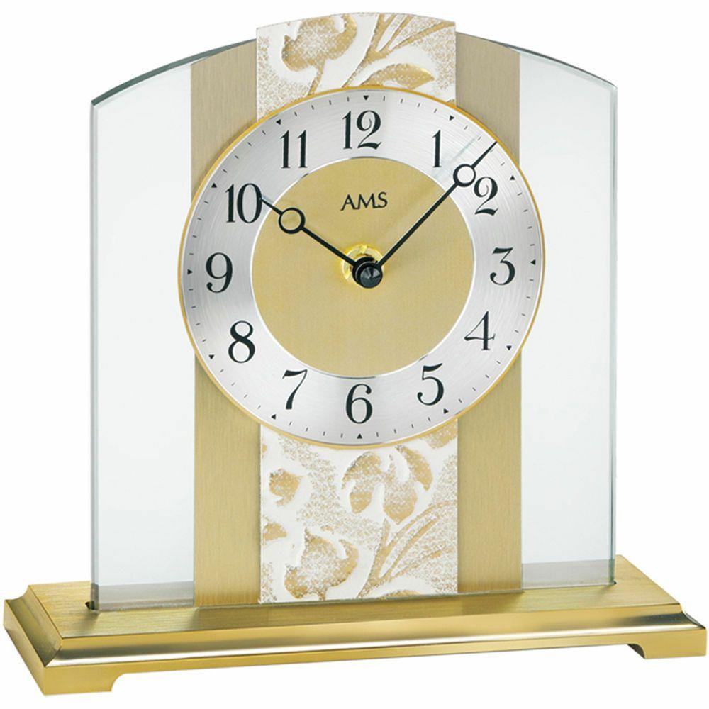 Ams 1123 Tischuhr Quarz Analog Golden Modern Aus Glas Mit Messing Und Kunstleder Tischuhr Wohnzimmeruhren Uhrideen