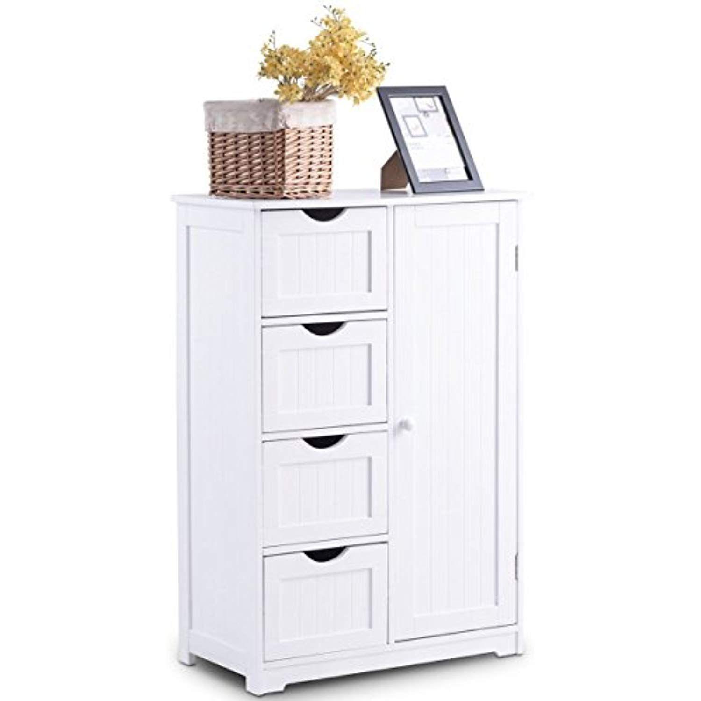 Giantex Bathroom Floor Cabinet Wooden With 1 Door And 4 Drawer
