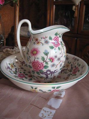 Pitcher & bowl Old Foley James Kent Staffordshire England Chinese rose