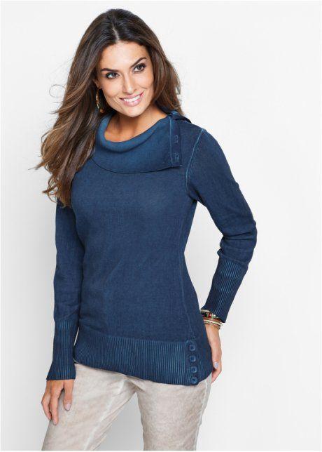 Premium Pullover mit Used-Effekt, bpc selection premium, indigo used