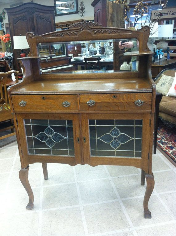Gorgeous Oak Antique Buffet Sidebaoard Server With By Chichesters 595 00 Antique Sideboard Buffet Antique Oak Furniture Leaded Glass Door