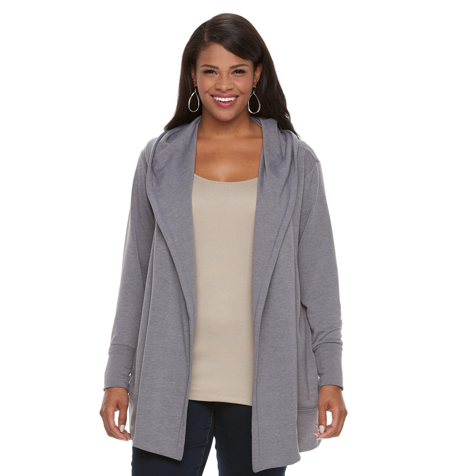 Plus Size Croft & Barrow® Hooded Cardigan, Women's, Size: 2XL ...