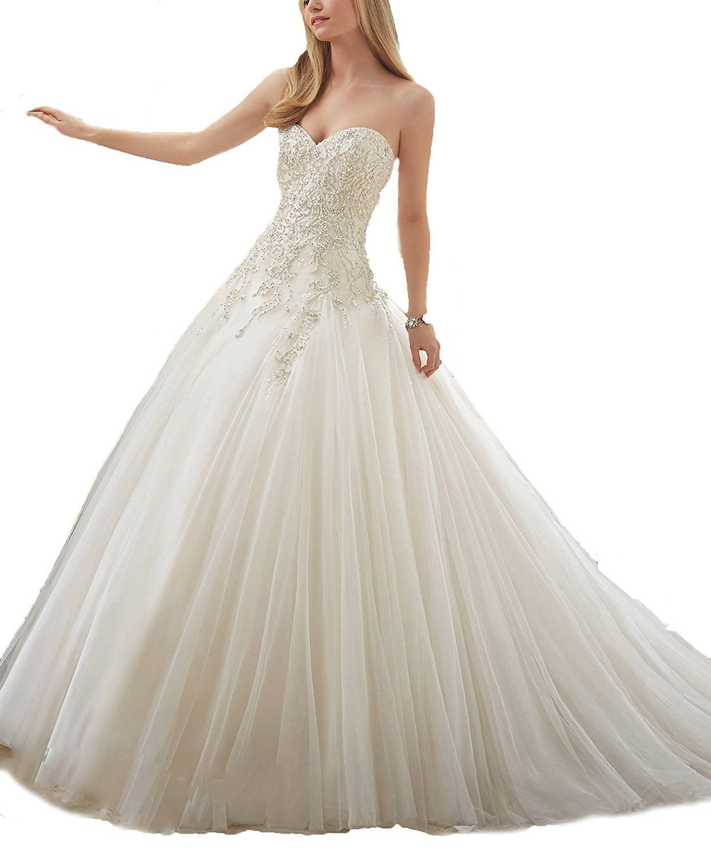 Sequined wedding dress  Ellenhouse Womenus Beaded Wedding Dress Sequined Bridal Court Train