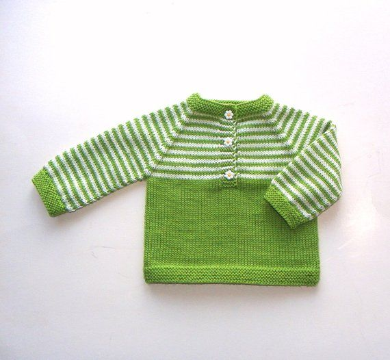 cbda3238d Ready to ship Size 6-9 Month Green and white baby sweater knit wool ...