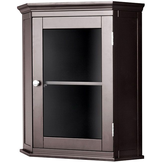 Classique Espresso Corner Wall Cabinet  Overstock™ Shopping Awesome Small Corner Cabinet Bathroom Review