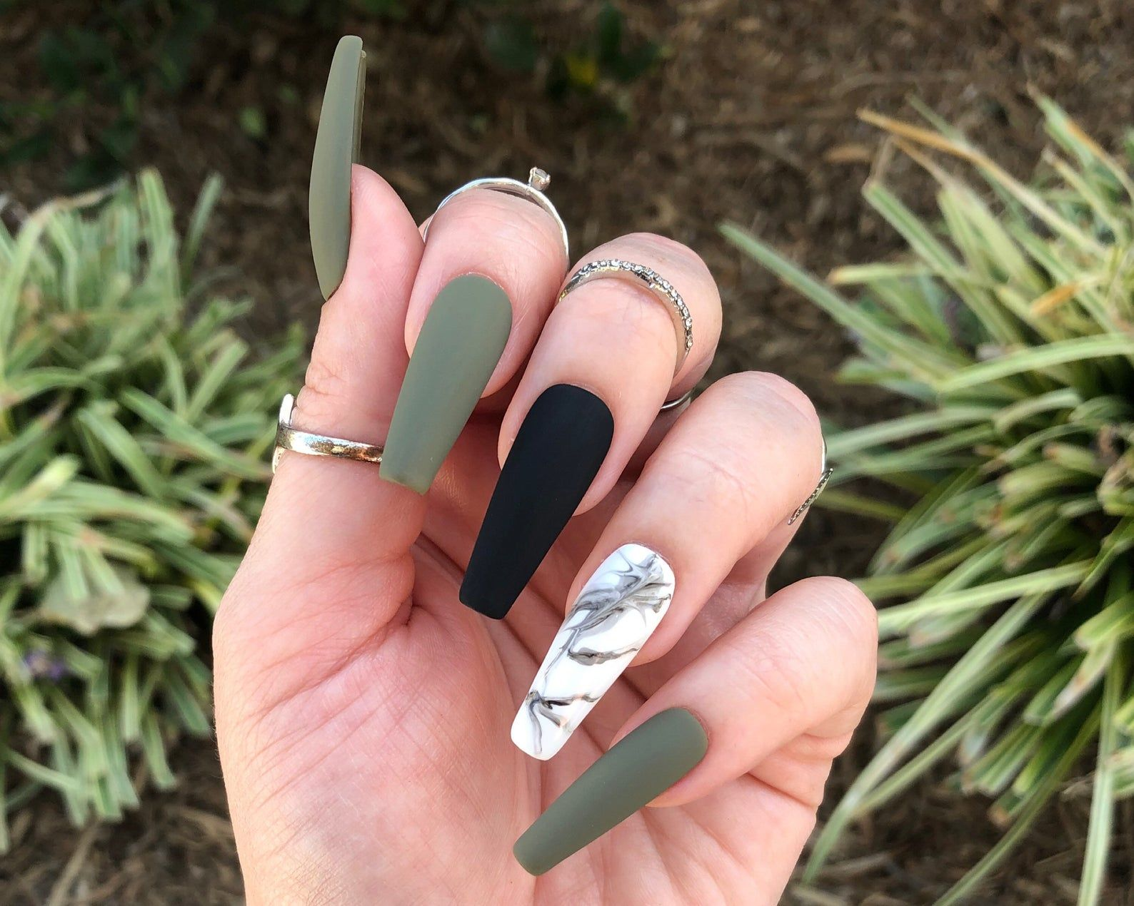 Hunter Green Marble Print Press On Nails | Choose