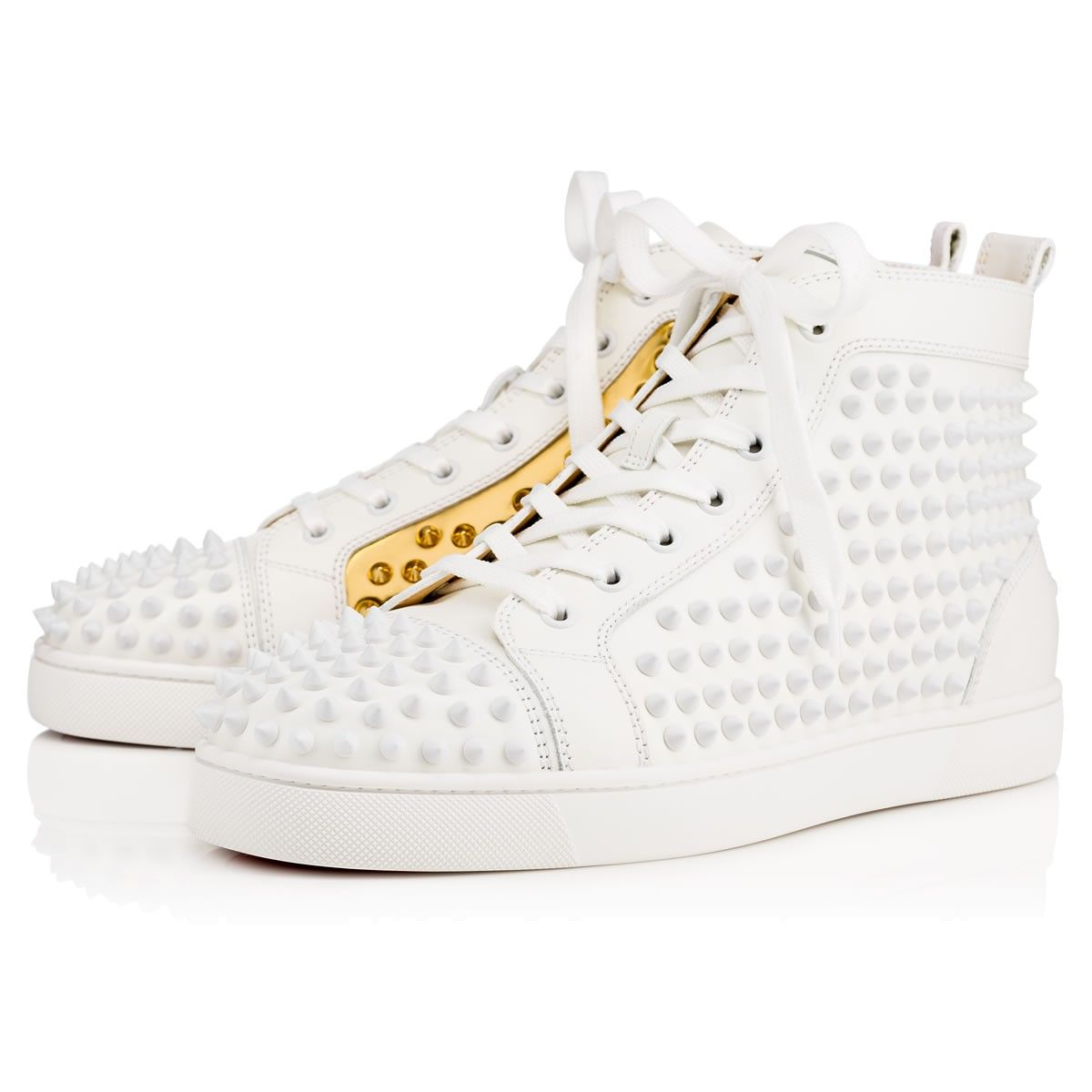 68e71acf9c3b0 CHRISTIAN LOUBOUTIN Louis Spikes Men s Flat Latte Gold Leather - Men Shoes  - Christian Louboutin.  christianlouboutin  shoes