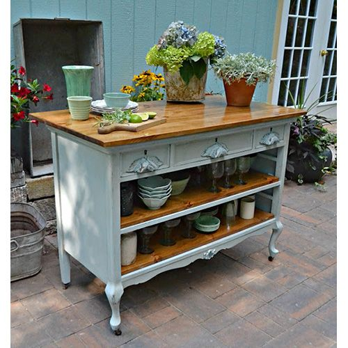 Kitchen Island Made From Antique Buffet: Fabulous DIY Farmhouse Kitchen Islands