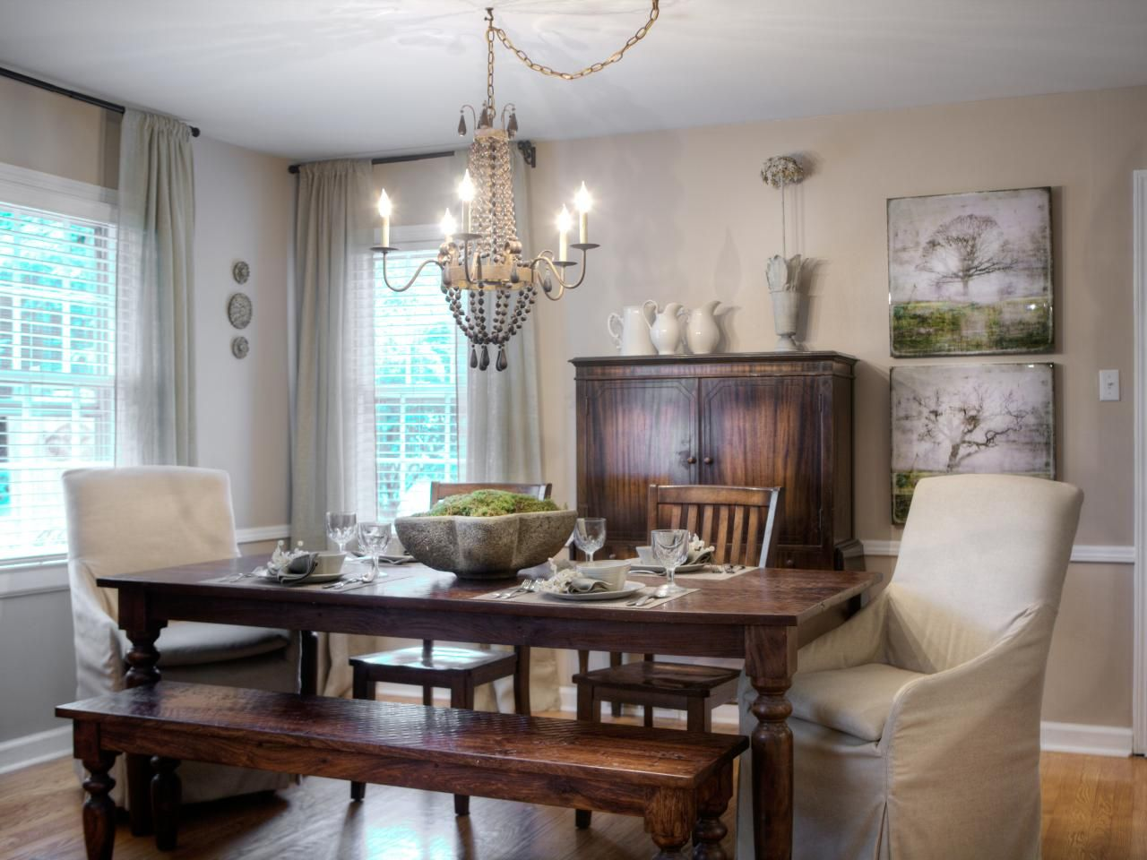 Comfy Dining Room Chairs Captivating A Mix Of Seating Including A Bench Wood Chairs And Slipcovered Design Inspiration