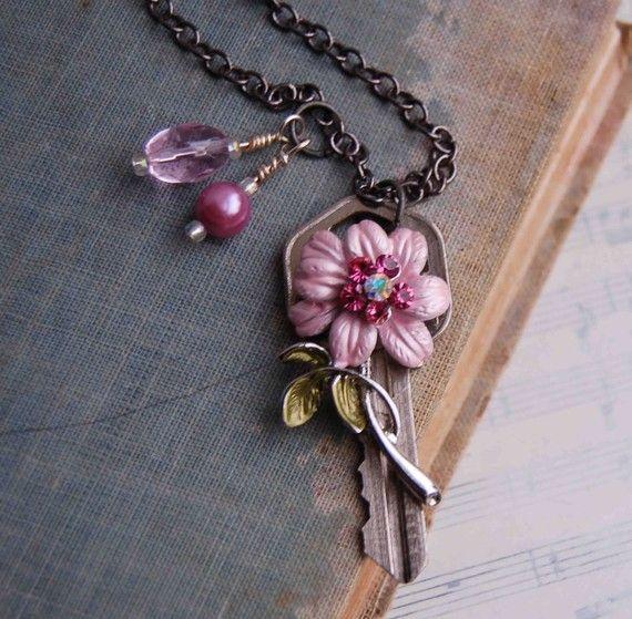 Vintage KEY Necklace Pink Flower Pink Crystal Pink Freshwater Pearl Enamel Flower Pendant