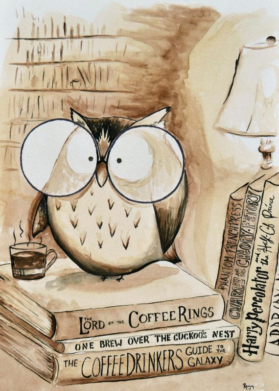 Coffee Owl Print - Book Nerd #bookspapersandthings