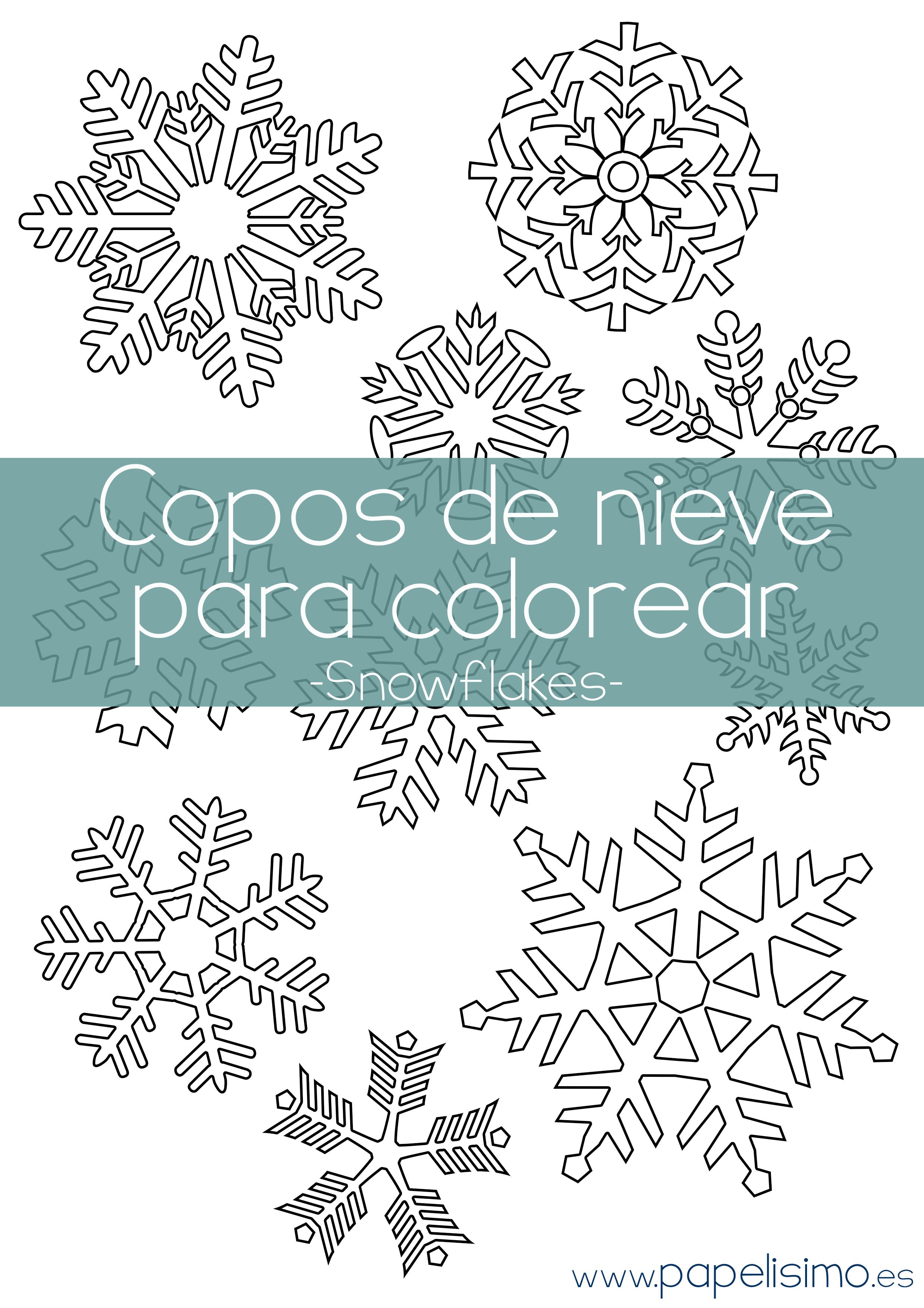 Copos de nieve para colorear | Papelisimo | Pinterest | Nieve ...