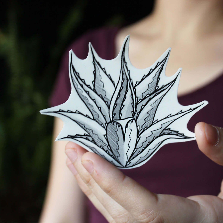 Agave Spikes Temporary Tattoo, Desert Succulent Plants, Black Line Drawing, Nature Tattoo -   12 plants Pattern tattoo ideas