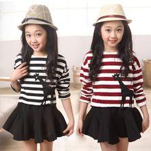 Menina De Roupas meninas 3 - 13 ano crianças listrado Top + saia outono inverno  adolescentes ajuste(China (Mainland)) 2c85e3a9c91