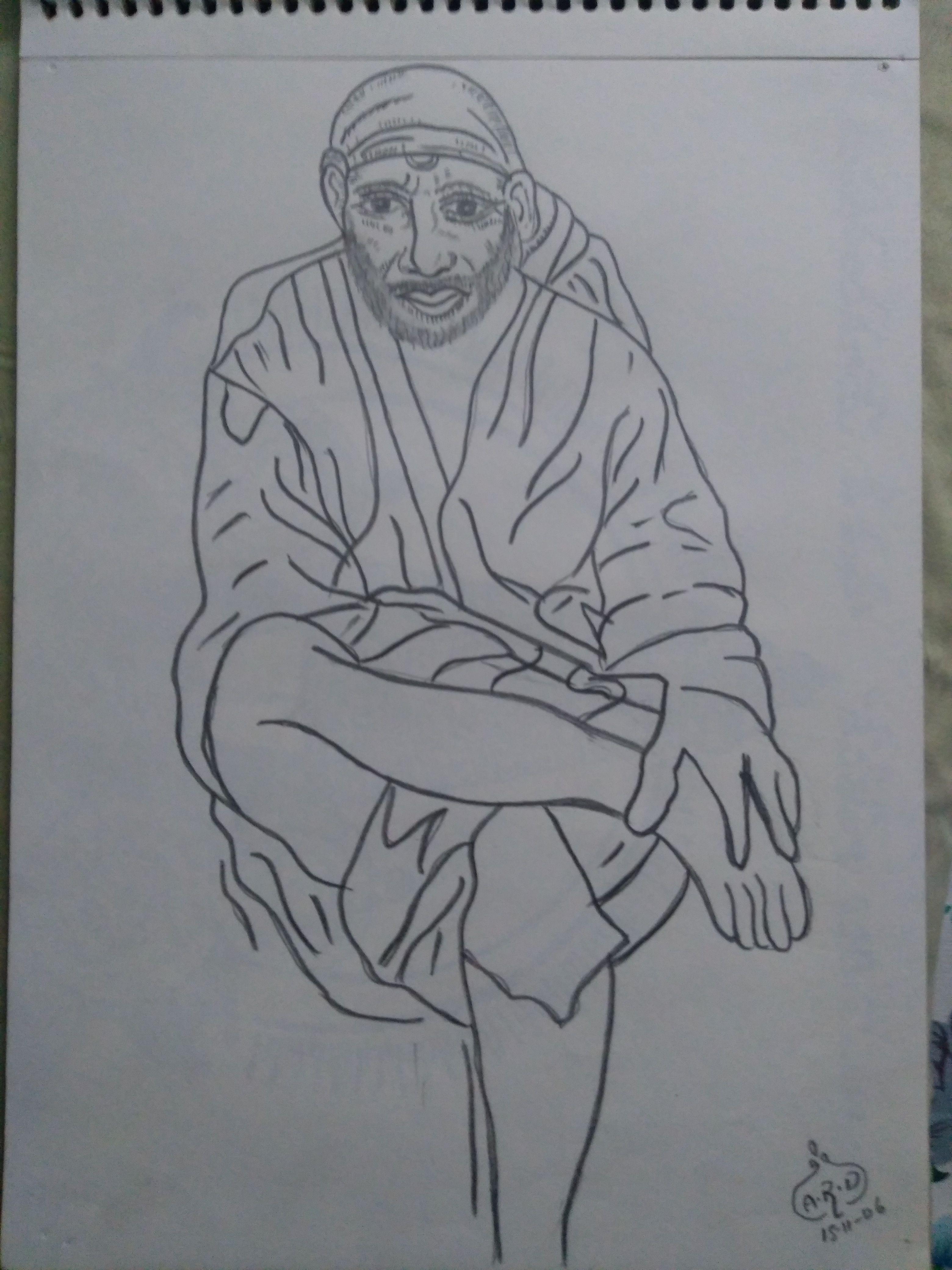 Shirdi sai baba pencil drawing pencil drawings of gods pencil