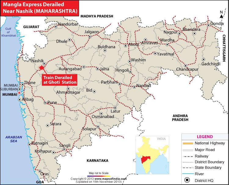 Mangala Express Derails Near Nashik Map in news Pinterest