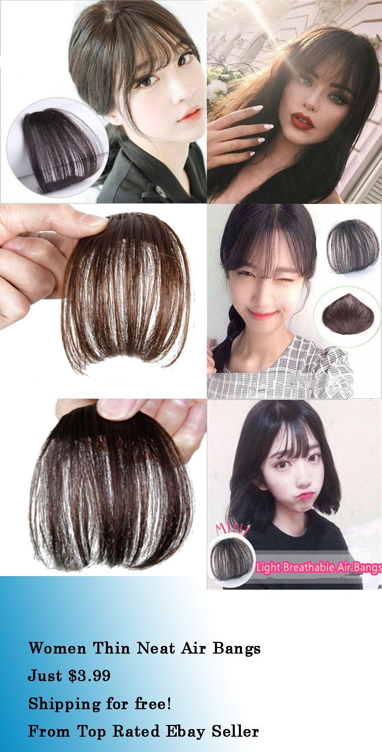 Women Thin Neat Air Bangsfringe Clip Onin Hair Extensions Remy