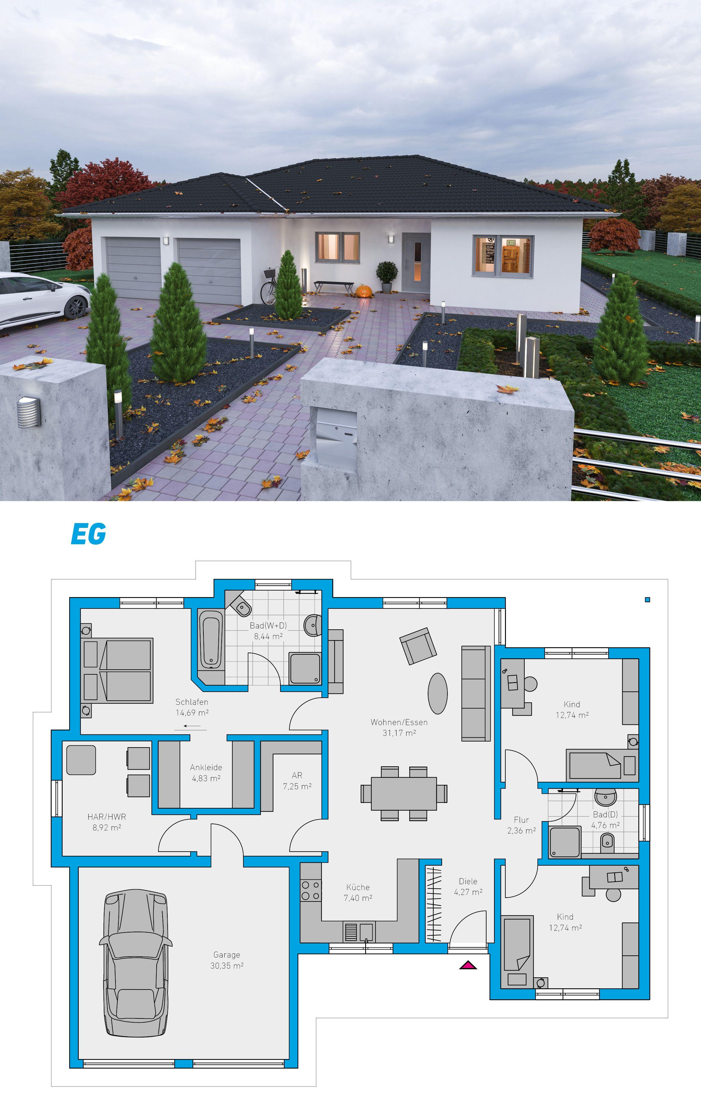 Plana 150 schl sselfertiges massivhaus spektralhaus for Eigenheim grundrisse