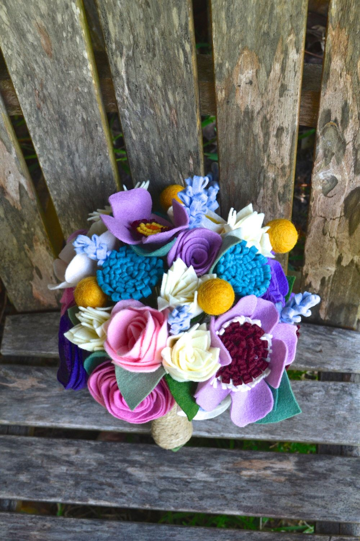 Felt Flower Bouquet Bride Bridesmaids Table Flowers Special