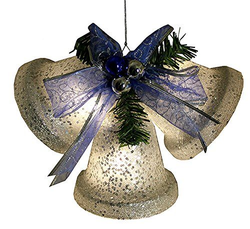 Penn Silver Glittered Battery Operated Lighted LED Christmas Bell