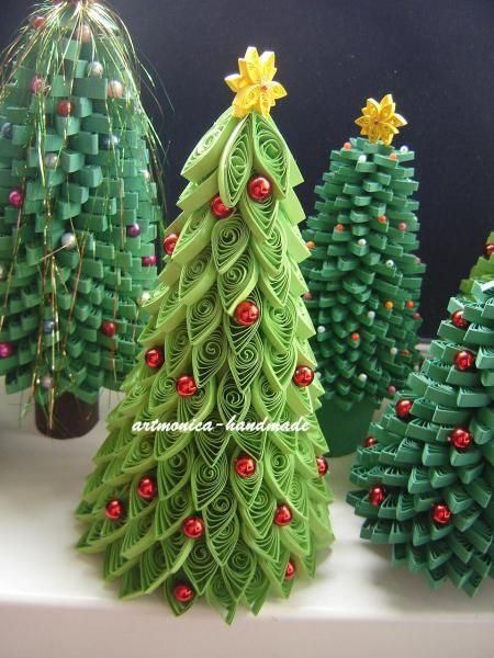 Quilled Christmas trees More - Quilled Christmas Trees €� Christmas Crafts Pinte…