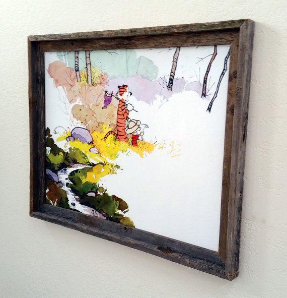 Calvin and Hobbes Explorers Reclaimed Beach Wood Framed Canvas