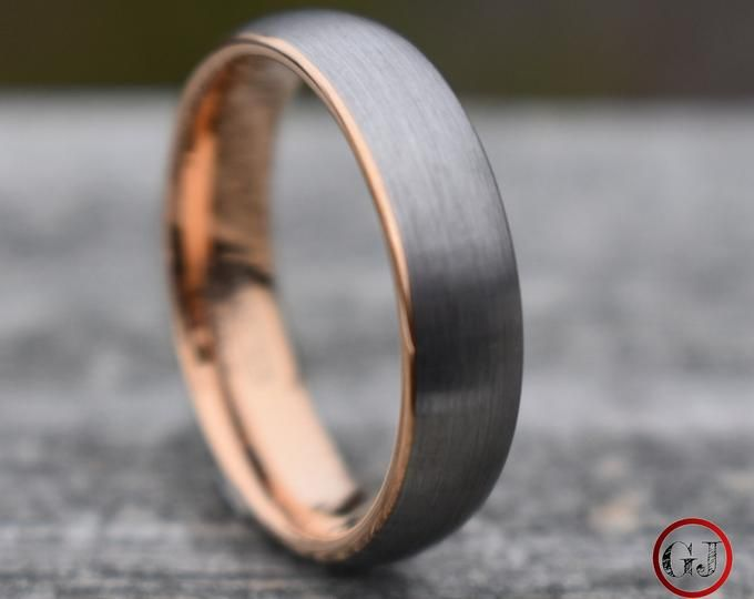 Beautiful Rose Gold Men's Wedding Band, 8MM, Men's Ring, Tungsten Carbide Ring, Free Engraving, Comfort Fit, Sizes 7-15