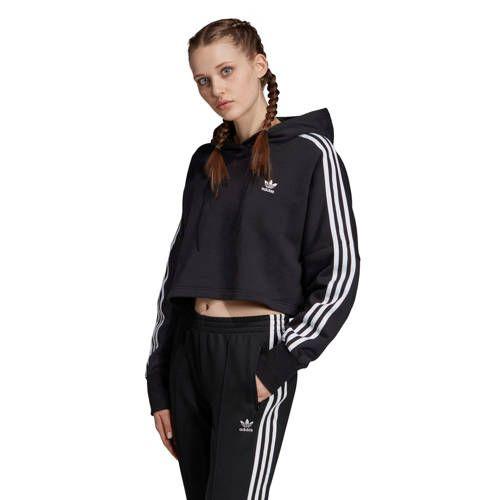 adidas originals Adicolor cropped sweater zwartwit Adidas