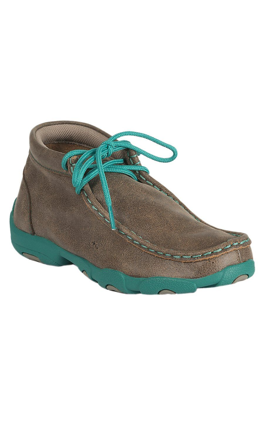 44cb86e70c9 Twisted X Youth Bomber Brown with Turquoise Driving Moccasin Casual Shoe