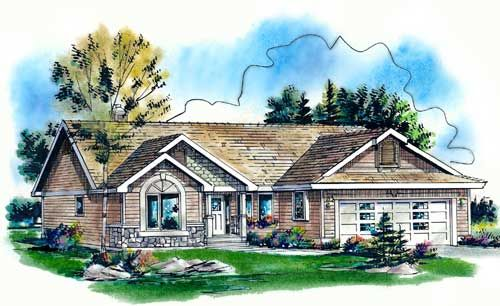 Traditional Style House Plans - 1374 Square Foot Home , 1 Story, 3