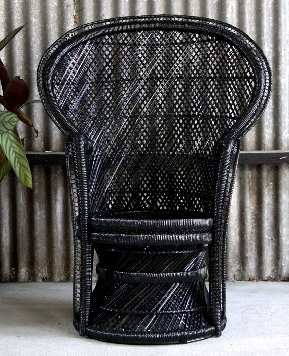 Black Vintage Wicker Cane Peacock Chair