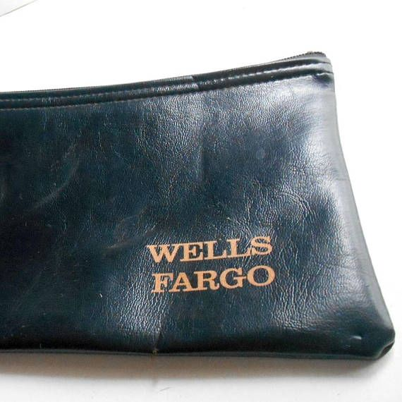 VINTAGE Wells Fargo Bank deposit Bag Zipper Pouch wallet A Rifkin Co