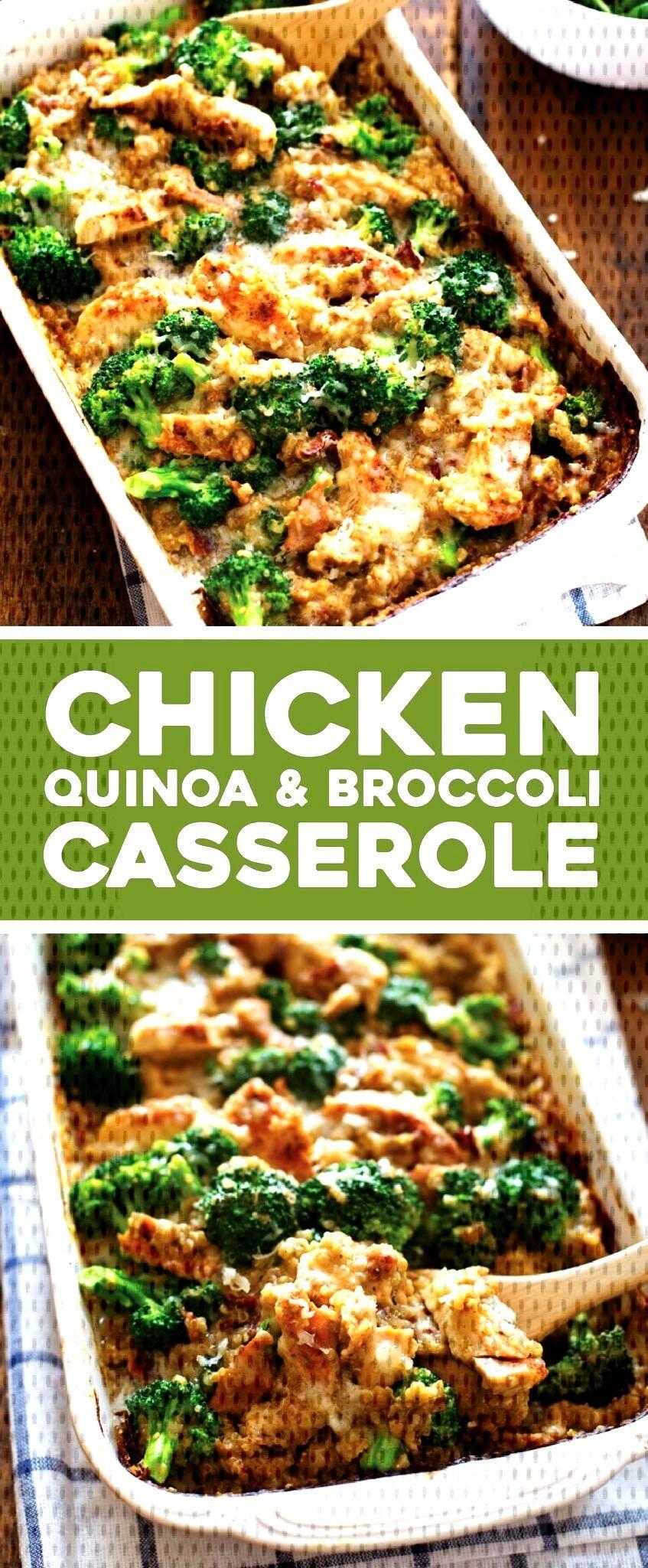Creamy Chicken Quinoa and Broccoli Casserole - Pinch of Yum - This Creamy Chicken Quinoa and Brocc