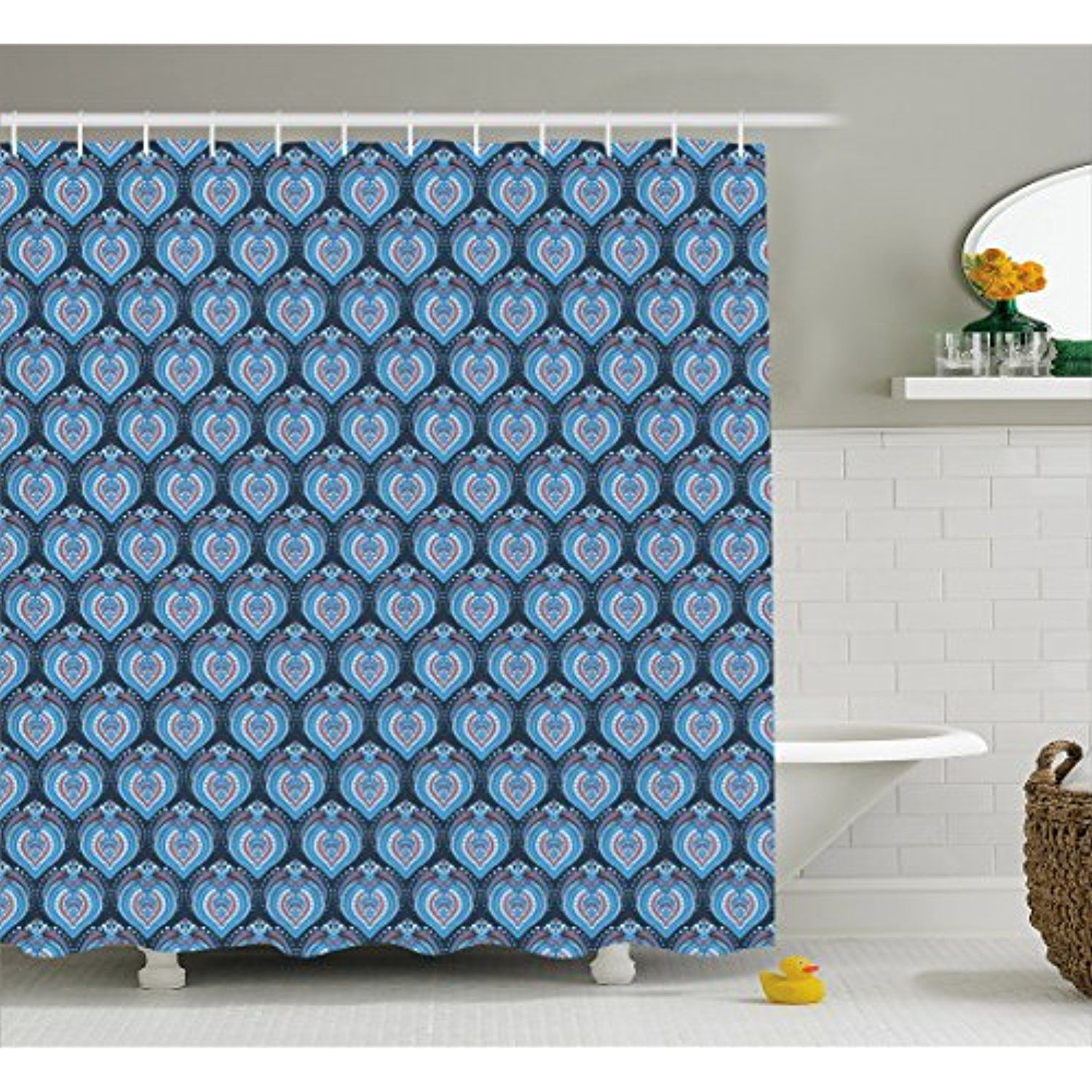 Asian Shower Curtain by Ambesonne, Tribal Floral Geometrical ...