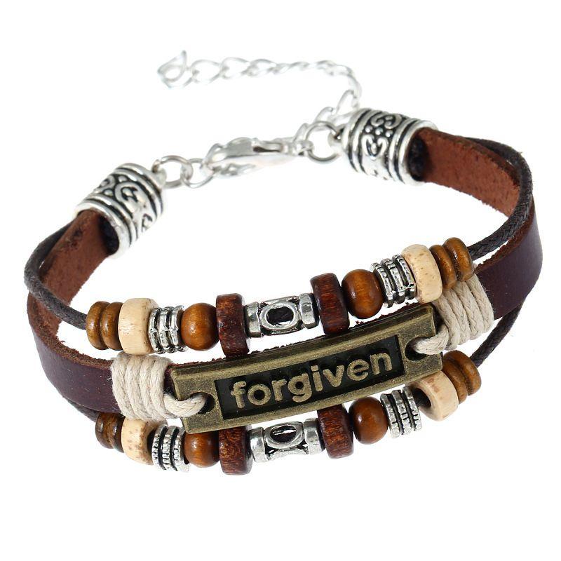 Fashion Men Black Leather Belt Bronze Jesus Beads Bangle Bracelet Wristband Gift