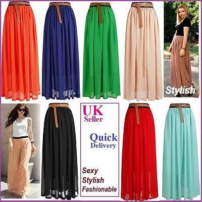 HOT!SALE! Women Lady Girl Chiffon pleated Retro Long Maxi Skirt Dress | 6 select[Small/Medium= ( 8-10),Light Green]