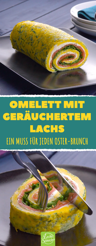 Omelett mit geräuchertem Lachs. Ein Muss für jeden Oster-Brunch. #rezept #lecker #omelett #lachs #brunch #ostern #brunchideen
