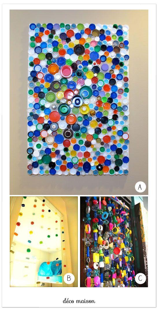 tableau avec des bouchons en plastiques id es faire avec les enfants capsules de. Black Bedroom Furniture Sets. Home Design Ideas