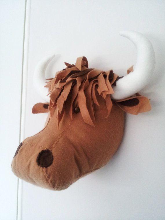 Highland Cow Faux Taxidermy Felt Wall Mounted Animal Head Hamish Highland Cow Wall Decor Animal Heads Faux Taxidermy Fabric Animals