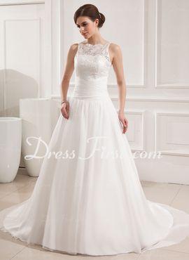 De baile Decote redondo Cauda corte Chiffon Laço Vestido de noiva com Pregueado (002019534)