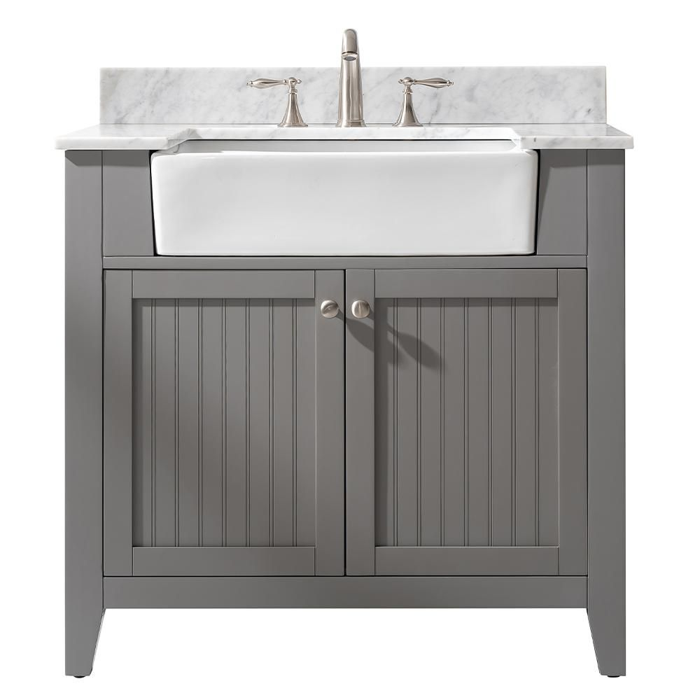 Design Element Burbank 36 In W X 22 In D Bath Vanity In Gray With Carrara Marble Vanity Top In White With White Basin Bk 36 Gy The Home Depot Single Sink Bathroom [ 1000 x 1000 Pixel ]