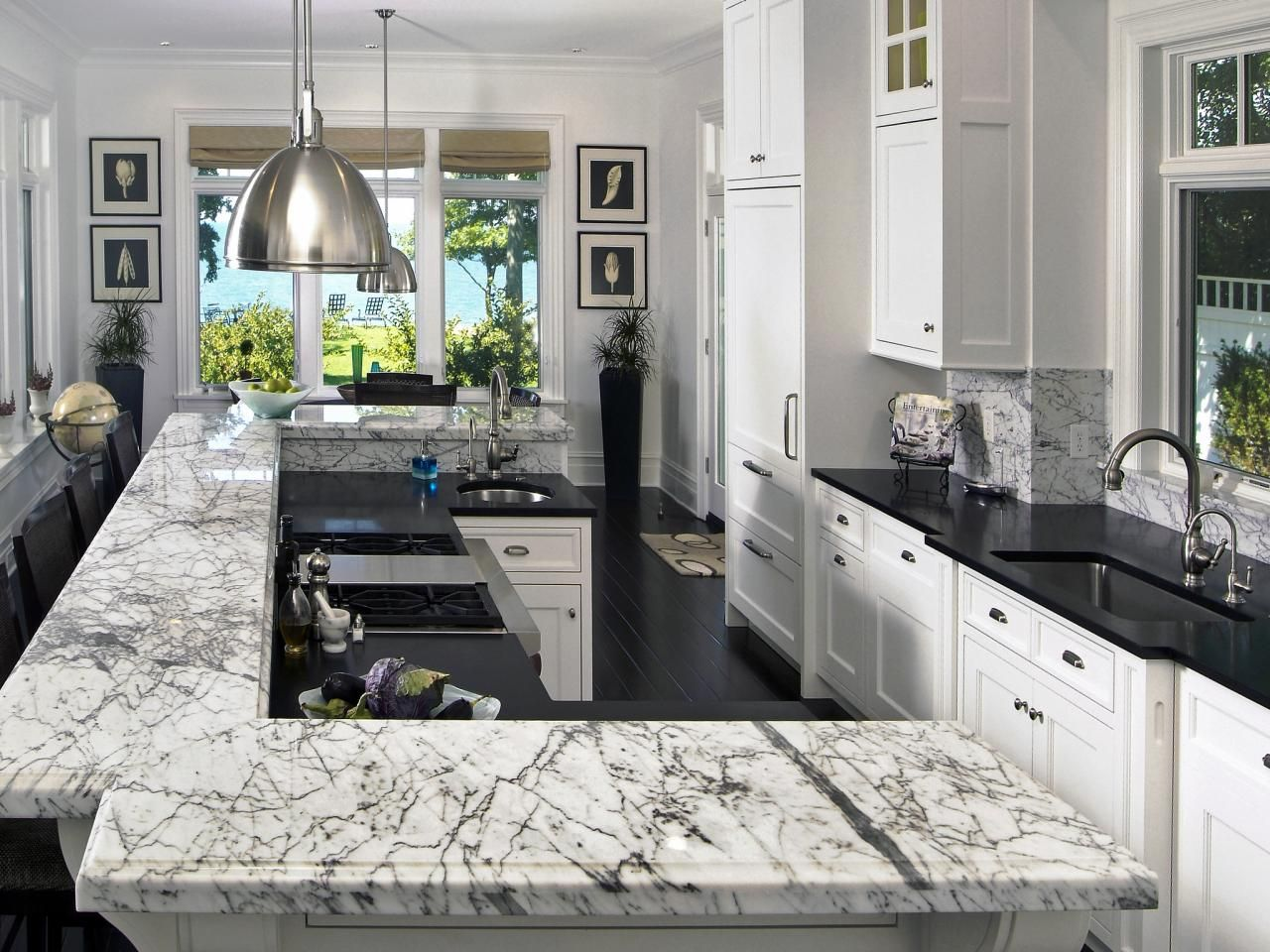 10 High-End Kitchen Countertop Choices | White marble, Breakfast ...
