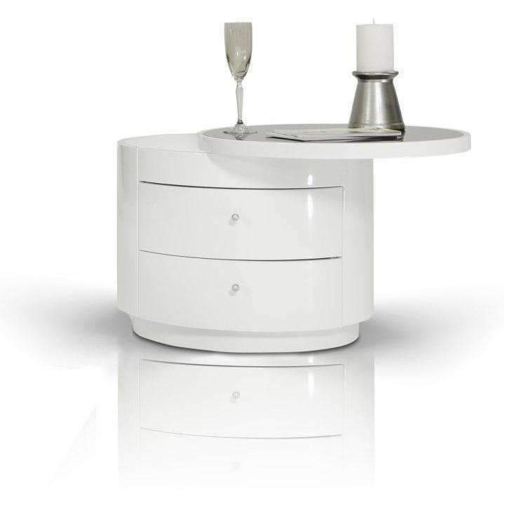 Best Modrest Symphony Modern White Round Nightstand Round 400 x 300