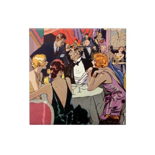 Cocktailparty för vintageart déconattklubb kakel