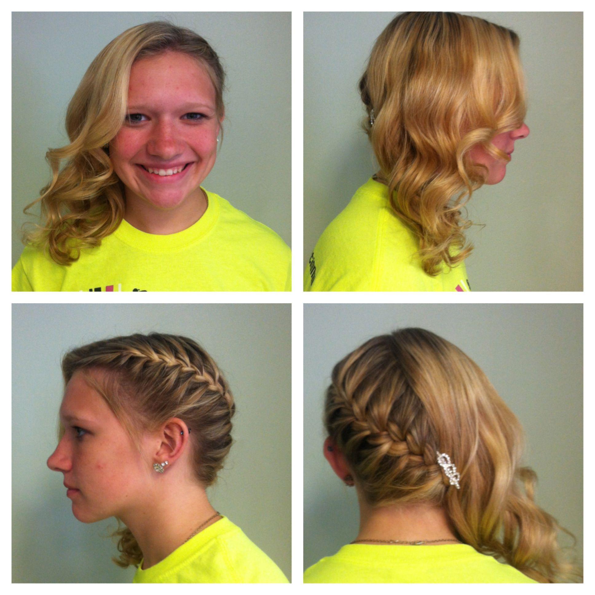 side braid updo curls style www.chezmichellesalon.com https://www.facebook.com/chezmichellesalon