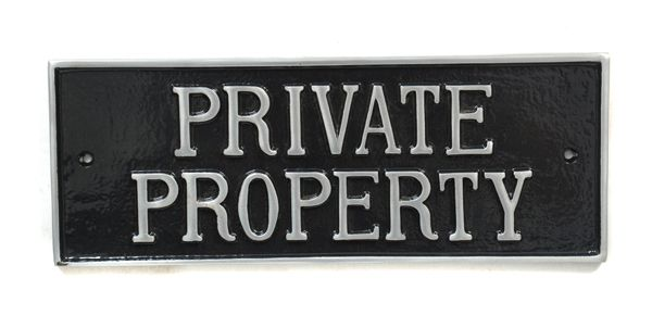 Private Sign Cast Iron 19cm Traditional Style Doors Gates Driveway Offices