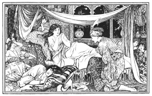 """Prince Firouz Schah in the Chamber of the Princess of Bengal"" from The Enchanted Horse - The Arabian Nights' Entertainments"