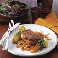 Coriander-Crusted #Pork Chops with Sautéed Apples and Caramelized Onions -   I follow the recipe exactly.  It's a great fall meal!